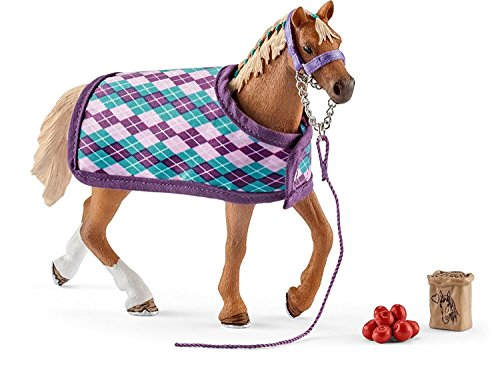 Schleich English Thoroughbred with Blanket Playset (Horse Racing Figurines)