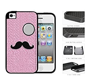 Pink Glitter Mustache Trend 2-Piece Dual Layer High Impact Rubber Silicone Cell Phone Case Apple iPhone 4 4s wangjiang maoyi