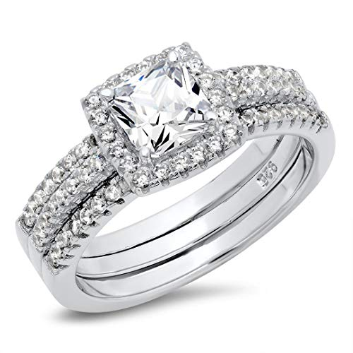 Metal Factory Sz 7 Sterling Silver Cushion Cubic Zirconia CZ 2Pc Halo Wedding Engagement Ring Insert Set