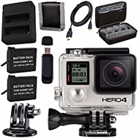 GoPro HERO4 Black + Rechargeable Battery + Dual Battery Charger + Case for GoPro HERO4 and GoPro Accessories + Tripod Adapter For GoPro Bundle