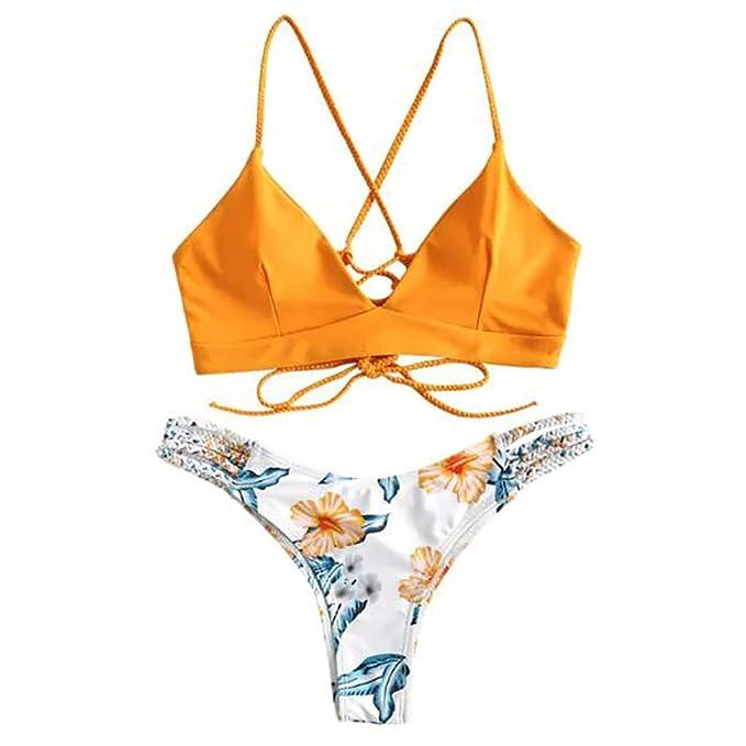 Amazon.com: Traje de baño de dos piezas para mujer, bikini ...
