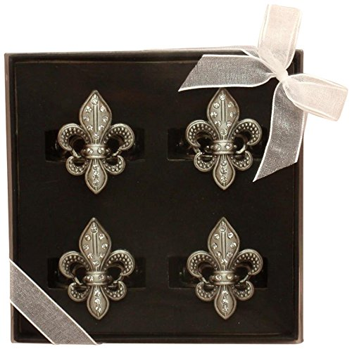 Fei Gifts Fleur de Lis Napkin Ring, Set of 4