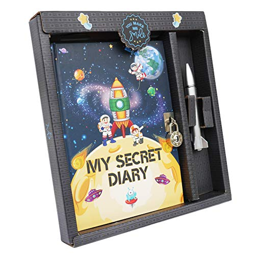 Secret Children's Kid's Diary Journal Notebook Stationery Pen Set with Lock and Key Spaceman Theme - for Boys Age 5 6 7 8 9 10 Years Old (Astronaut)]()