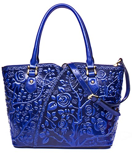 Malirona Embossed Floral Leather Top-handle Handbag Tote Bag Purse Crossbody Bag For Women (Blue) by Malirona