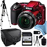 Nikon COOLPIX L840 Red, 32GB SD Memory Card, Camera Case, Wireless Remote, SD Card Reader, Full Size Tripod, Lens Cleaning Kit, LCD Screen protector and Table Top Tripod