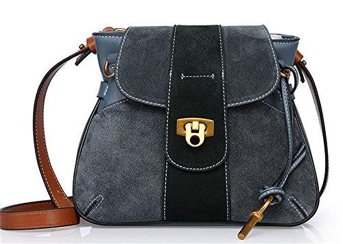 Xinmaoyuan Mujer bolsos de cuero Bolsos Bolso de Hombro Simple Abrazadera Scrub Bolso Portasilla Retro Lady Pack Blue