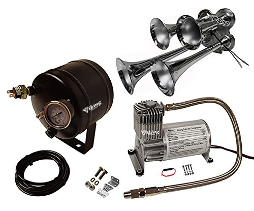 Viking Horns V107C-2/4008 Loud 149 Decibels 4 Trumpet Chrome Plated Metal Air Horn Kit