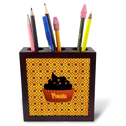 (3dRose Beverly Turner Halloween Design - Cupcake with Chocolate Icing and Orange Stars, Treats on Cupcake - 5 inch Tile Pen Holder)