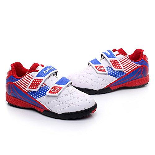 Tiebao Niños Clásico Bucle de Gancho Zapatos de Fútbol Profesional Zapatillas de Deporte Niños / Jóvenes Tamaño Blanco