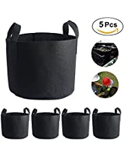 7-Gallon 5-Pack Grow Bags Fabric Aeration Pots Container with Strap Handles for Nursery Garden and Planting(Black)