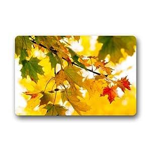 "CozyBath Maple Leaf Autumn Non-woven Fabric 23.6""(L) x 15.7""(W)Machine-washable Indoor/Outdoor/Shower/Bathroom Doormat"