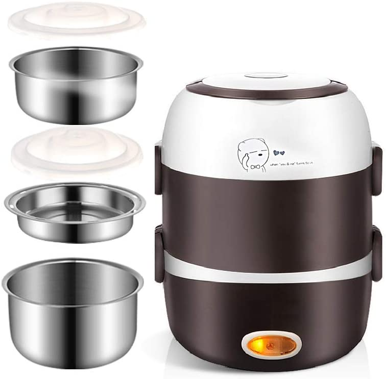 Electric Lunch Box,3 Layers 2L Portable Electric Heating Bento Lunch Box Food Storage Warmer Container Rice Cooker,110V 200W,Stainless Steel+PP