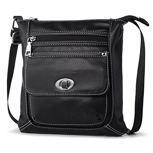 Women Crossbody Purse Small Vegan Leather Shoulder Bag Cross Body Bags Soft Casual Travel Purses Katloo (Black)