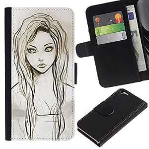 All Phone Most Case / Oferta Especial Cáscara Funda de cuero Monedero Cubierta de proteccion Caso / Wallet Case for Apple Iphone 6 // Girl Portrait Green Eyes Pencil Drawing