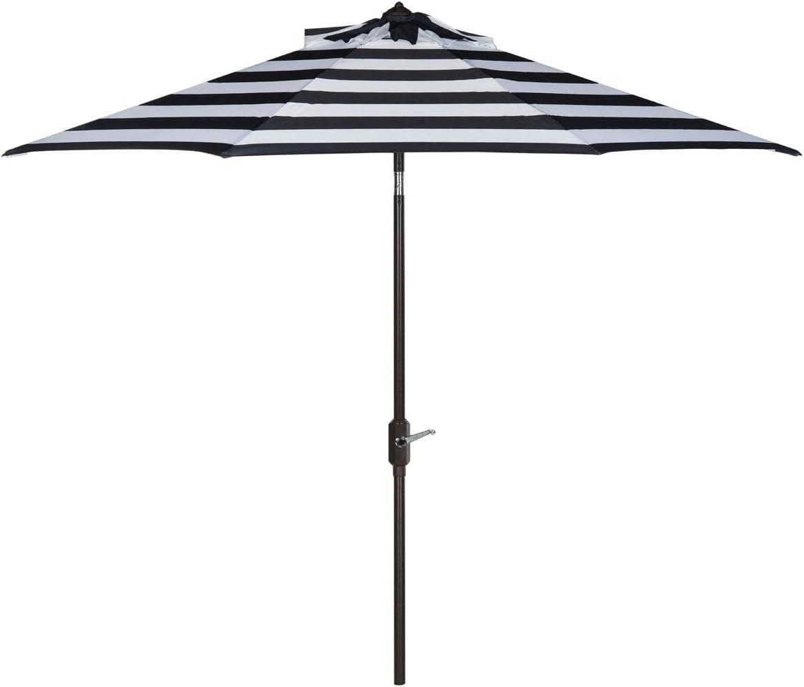Safavieh PAT8004B Outdoor Collection Iris Fashion Line Auto Tilt Umbrella, 9 , Navy White