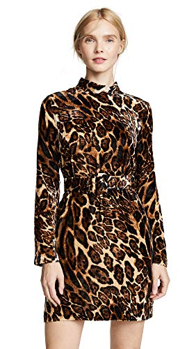WAYF Women's Peggy Mock Neck Belted Shift Dress, Leopard, ()