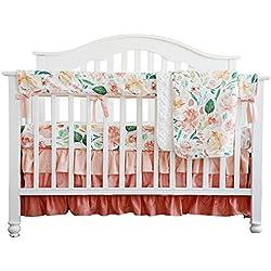 Secret Garden Coral Floral Ruffle Baby Minky Blanket Water color, Peach Floral Nursery Crib Skirt Set Baby Girl Crib Bedding (Secret Garden 4pc set)