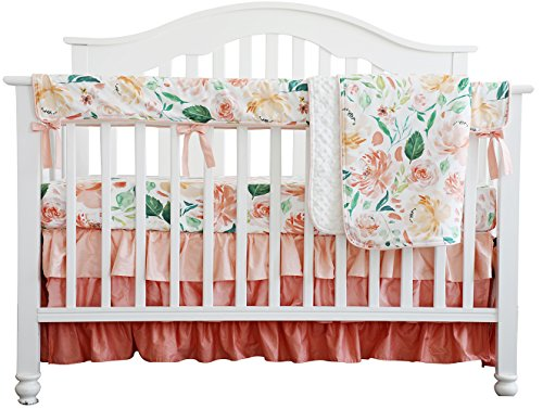 Secret Garden Coral Floral Ruffle Baby Minky Blanket Water color, Peach Floral Nursery Crib Skirt Set Baby Girl Crib Bedding (Secret Garden 4pc ()