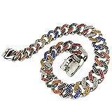 MUJING 32 mm Wide Hip Hop Gold Tone Cut Curb Cuban Link 316L Stainless Steel Dog Choke Chain Collar 45-75CM,A,XXL