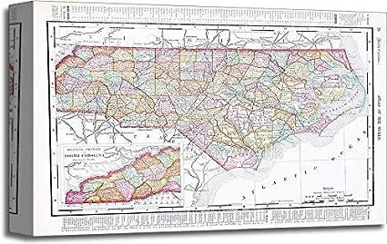 Amazoncom Barewalls Antique Map North Carolina Nc United States - Us-map-nc