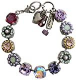 Mariana Silvertone Large Flower Shapes Crystal Bracelet, 7'' ''Iris'' Purple Multi Color 4084 1327