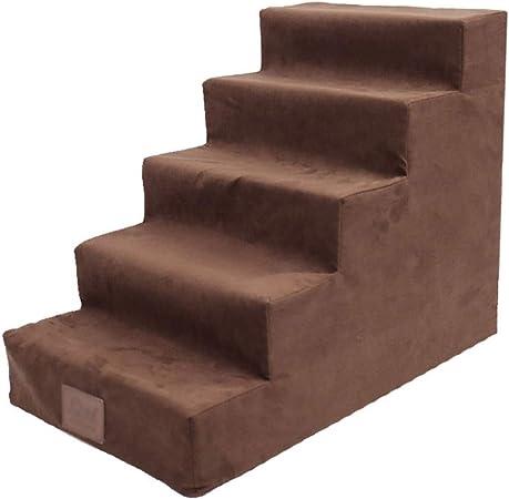 Escalera de Mascota Escaleras para Perros de 5 Pasos para Cama Alta, Escalera de rampa para Mascotas para Gatos/Perros de hasta 4 kg, Cubierta Desmontable con Cremallera Lavable a máquina, Parte inf: