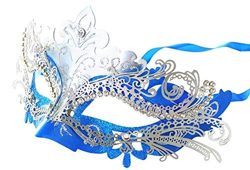 [Coxeer Laser Cut Metal Lady Masquerade Halloween Mardi Gras Party Mask (Silver & Blue)] (Blue Mardi Gras Mask)