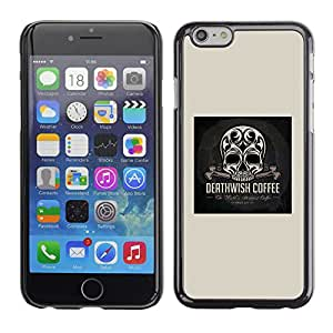 Shell-Star Arte & diseño plástico duro Fundas Cover Cubre Hard Case Cover para Apple iPhone 6 Plus(5.5 inches)( Skull Coffee Death Wish Poster Black )