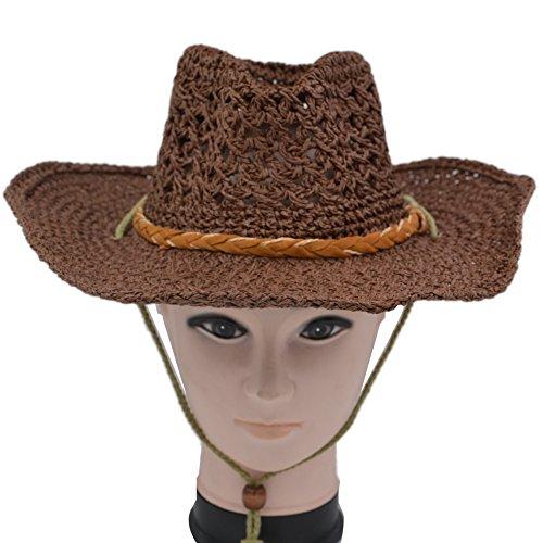 Coyboy Hat - Yosang Straw Knitting Hollow Hat Beach Travelling Coyboy Western Sun Hat Brown
