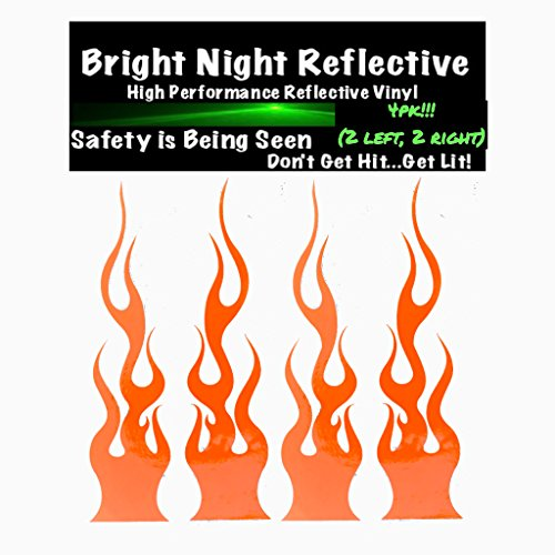 "Flame decals reflective (2) 1.25""x5.25"" great for helmets, motorcycles, computer stickers, phone, tablet, hard hat (orange)"