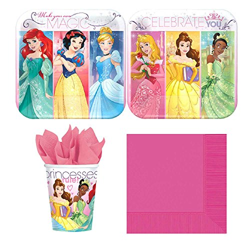 Disney Princess Party Supplies Bundle, Plates, Napkins & Cups for 16 Guests Disney Princess Napkins