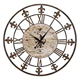 Deco 79 13813 Metal Clock 36″ D, Antique Brown For Sale