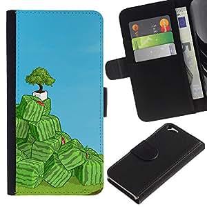 LECELL--Cuero de la tarjeta la carpeta del tirón Smartphone Slots Protección Holder For Apple Iphone 6 -- Cubo de la sandía Arte --