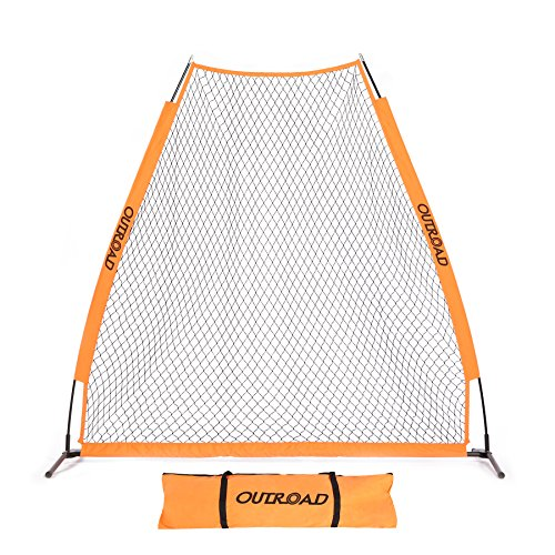 OUTROAD 7X7 ft Portable Baseball Pitching Screen Protection Net - Bow Style Bundle w/ Carry Bag
