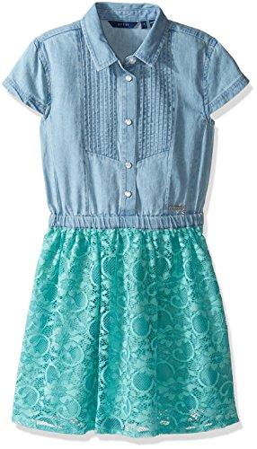 GUESS Girls' Big Short Sleeve Denim and Lace Dress, Chambray Light Wash 14