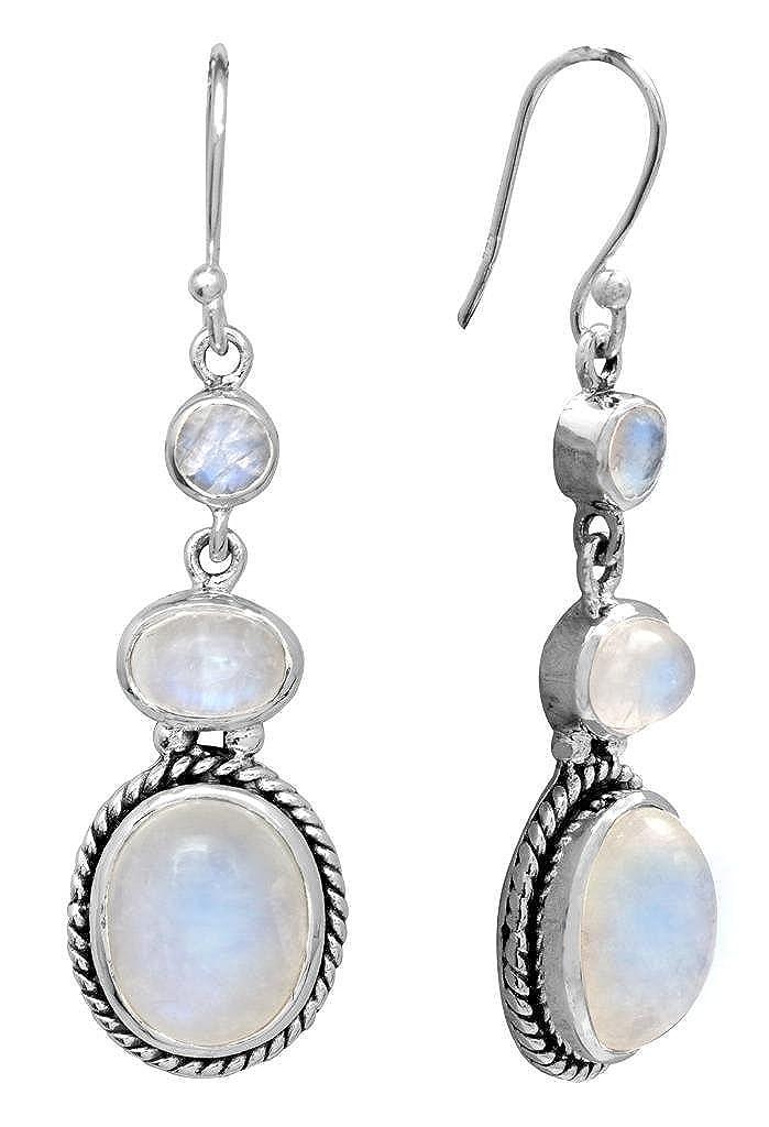 Rainbow Moonstone Dangle Earrings Solid 925 Sterling Silver Designer Gemstone Jewelry
