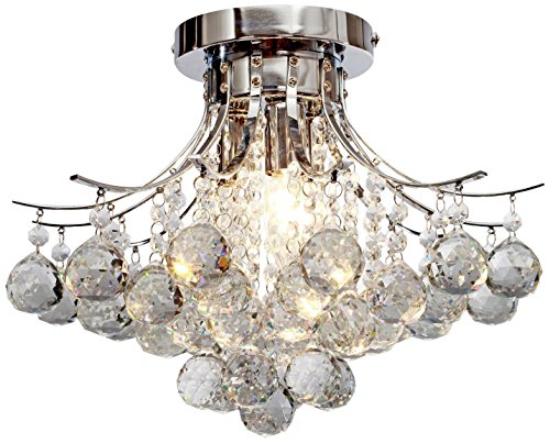 Saint Mossi Chandelier Modern K9 Crystal Raindrop Chandelier Lighting Flush mount LED Ceiling Light Fixture for Dining Room Bathroom Bedroom Livingroom Pendant Lamp 11