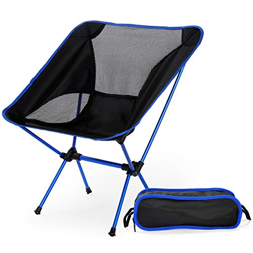 (OUTLIFE Camping Chair/Ultralight Folding Chair/Oxford Cloth Portable Seat Stool with Carry Bag for Hiking, Fishing, Cycling, Backpacking, Travel, Beach, Picnic(Blue))
