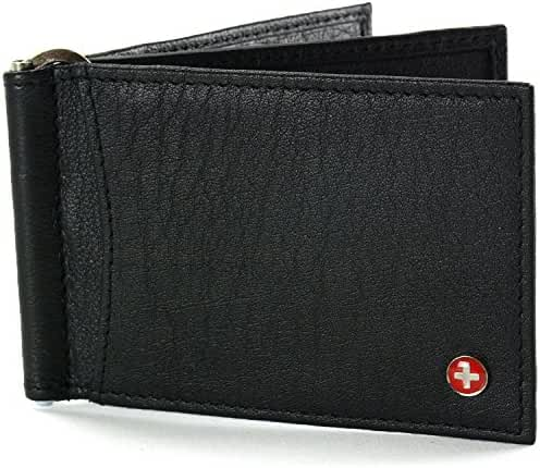 Alpine Swiss RFID Blocking Mens Leather Deluxe Spring Money Clip Wallet