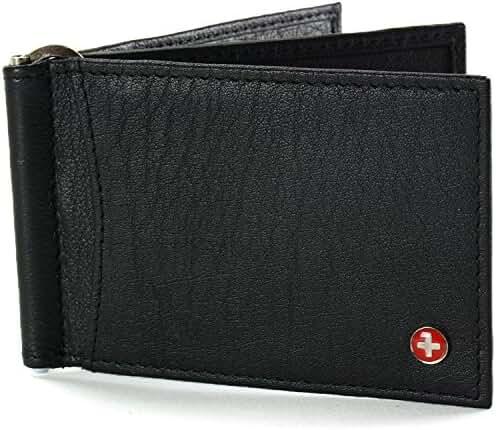 Alpine Swiss RFID Blocking Mens Leather Deluxe Spring Money Clip Wallet