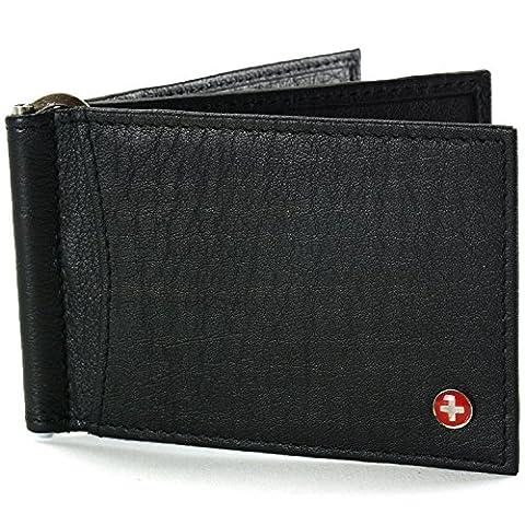 Alpine Swiss RFID Blocking Mens Leather Deluxe Spring Money Clip Wallet Black (Swiss Mens Classic)