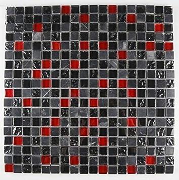 Bador Glasmosaik Mosaik Marmoriert Fliesen Mosaikfliesen Glasfliesen - Schwarz marmorierte fliesen