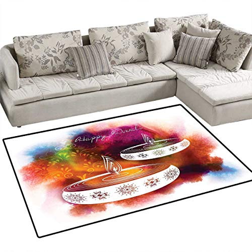 - Diwali Area Rugs for Bedroom Abstract Rainbow Brush Strokes Like Paisley Design with Festive Fire Candles Art Door Mats for Inside Non Slip Backing 55