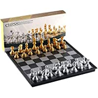 Anqiao European Chess Board Game European Chess Set Silver Gold Pieces Folding Magnetic Foldable Board Contemporary Set…