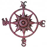Antique Red Cast Iron Rose Compass 12'' - Decorative Rose Compass - Nautical Decor