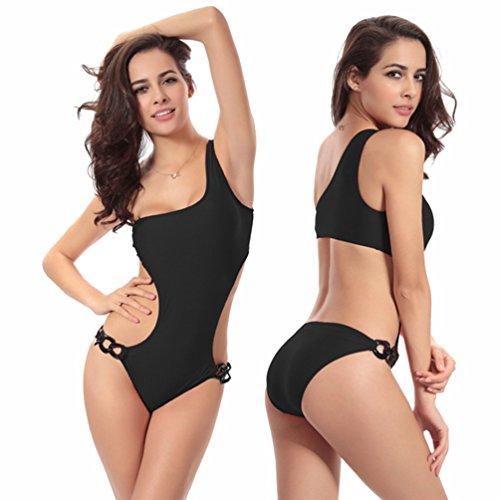 NiSeng Mujer Traje de Baño del Hombro Soltero Bañadores Una Pieza Swimwear Negro