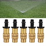5pcs Adjustable Mist Nozzle Sprayer Heads for Misting Watering Irrigation 0.2-0.7 liters/Minute Connecting 1/4'' Water Hose