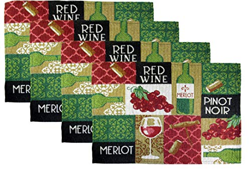 - Woven Tapestry Wine Cheese, and Grapes Place Mats - Set of 4 (Squares - Red Wine, Merlot, Pinot Noir)