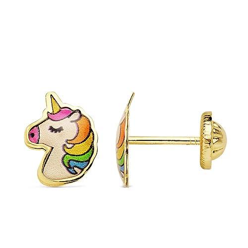 tienda de liquidación 75113 bb739 Iyé Biyé - Pendientes bebé niña unicornio esmaltado 9x6 mm oro amarillo 18  ktes cierre rosca