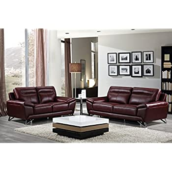 Exceptionnel Cortesi Home Phoenix Genuine Leather Sofa Collection, Merlot (Sofa U0026  Loveseat ...